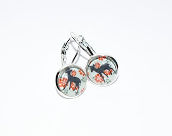Super Cute Pale Blue and Red Deer Design Silver Plated Drop Earrings