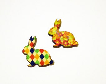 Super Cute Really Retro Set of 2 Patterned Bunny Rabbit Magnets