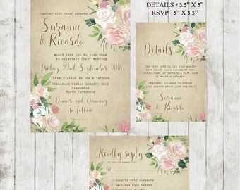 vintage wedding invitation, Printable wedding invitation set, digital wedding invitation, rose wedding invitation, floral invite, YOU PRINT