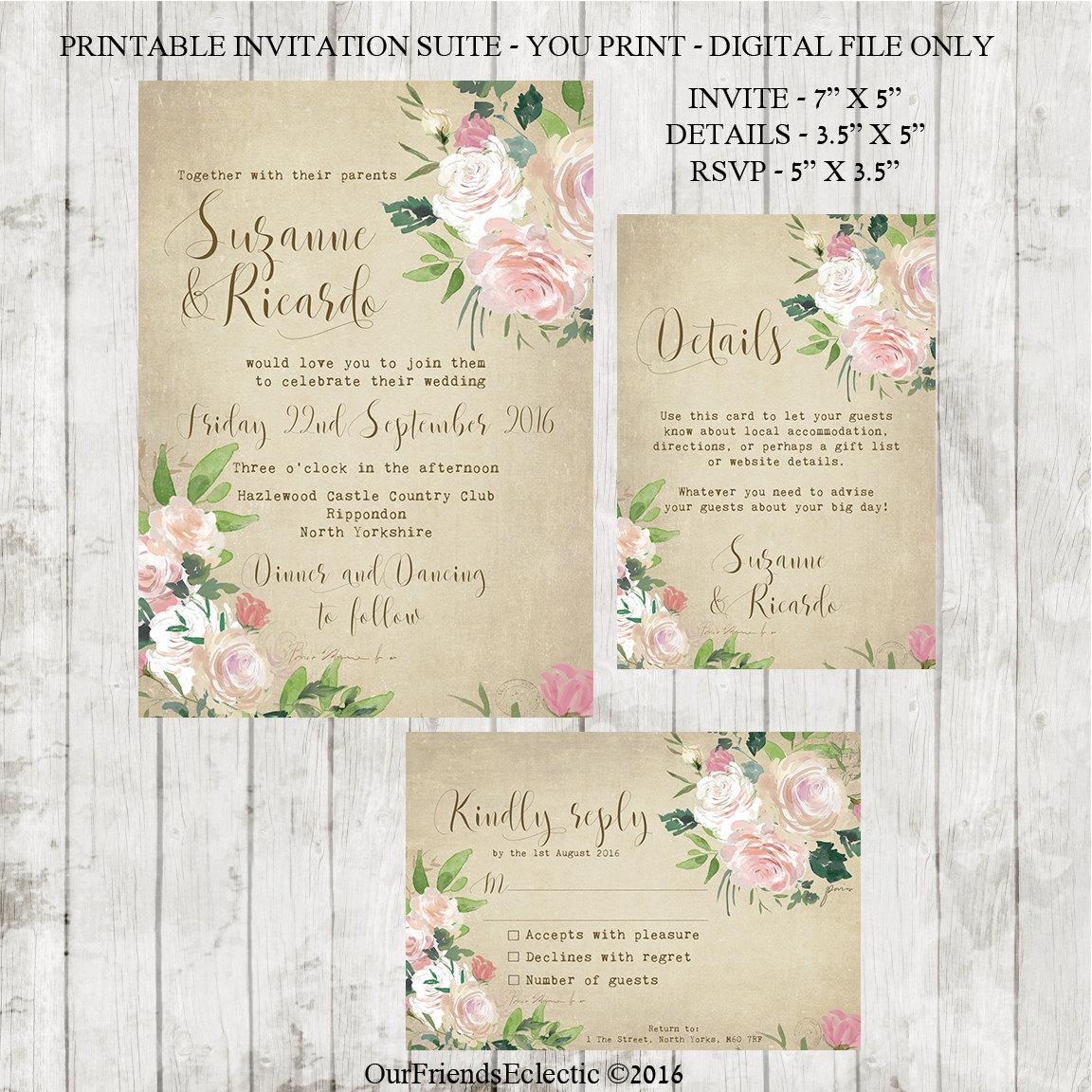Vintage Wedding Invitation Printable Wedding Invitation Set