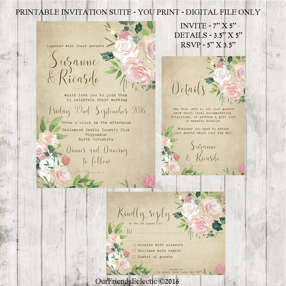 Wedding Invitation Sets: Vintage Wedding Invitation Printable Wedding Invitation Set