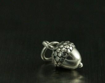 Sterling Silver Tiny Acorn--Teeny Acorn--Silver Acorn Charm--Tiny Nut Charm--Dimensional Acorn Charm--3D Acorn Charm--Little Acorn
