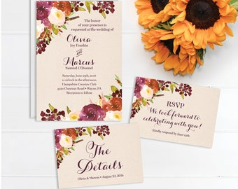 Rustic Burgundy Wedding Invitation Set - Wedding Invite - RSVP Card - DIY Printable Wedding Set - Printed Wedding Invitation - RSVP Postcard