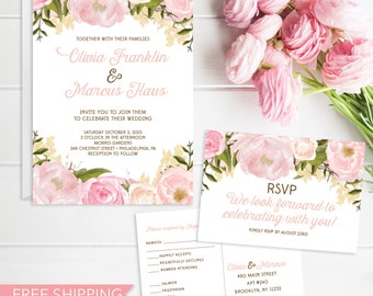 Pink Floral Wedding Invitation Set - Wedding Invite - RSVP Card - DIY Printable Wedding Set