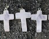 Rose Quartz Cross Pendant with Silver Clasp