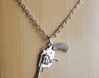 Revolver Pistol Necklace - Firearm Enthusiast Silver tone charm