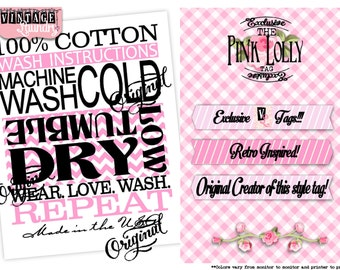 Pink Lolly Care Instructions PNG JPG Instant Download File Wash Instructions Tag Label (Machine Wash Cold/Tumble Dry)