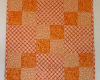 "Doll Quilt, 17.5"" x 17.5"", Mini Quilt, Orange, White, Four-patch Quilt"
