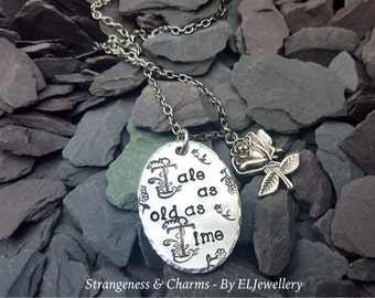 Hand Stamped 'Tale as old as Time' Oval Necklace, Fairytales, Beauty and the Beast, Jewelry, Roses,Stamped Necklace,Stamped Metal Jewellery.