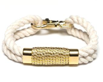 Nautical Rope Bracelet / Metallic Gold Bracelet / Ivory Rope Bracelet / Gold Nautical Bracelet / Nautical Jewelry / Nautical Gift