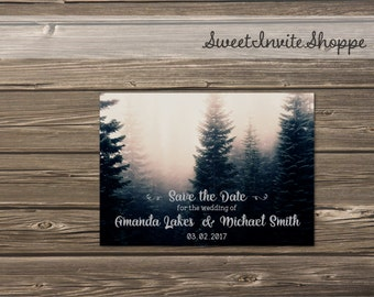 Forest Save The Date Card, Rustic Mountain Wedding, Pine Trees Save The Date Card, Rustic Pine Trees Invitation, Vintage Woodsy Invitation