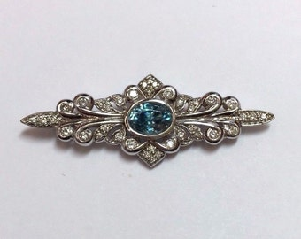 Vintage 14K White Gold Blue Zircon and Diamond Brooch with Appraisal