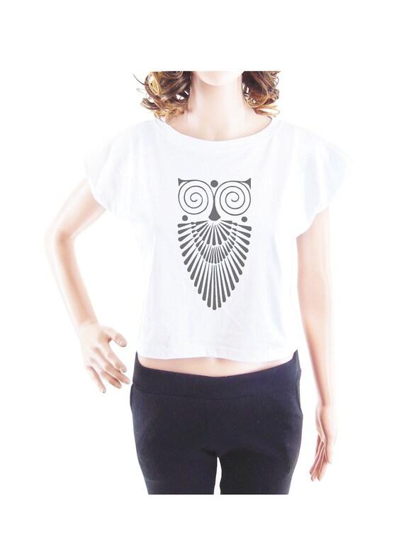 Owl shirt graphic shirt animal tshirt women tshirt crop top crop shirt size S
