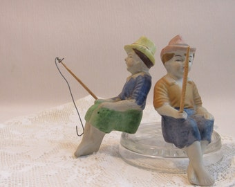 Vintage Made in Occupied Japan Figurines Boys Fishing Fishermen Collectables Set of 2