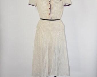 70s white peplum dress / 1970s cotton gauze dress / polka dot pleated dress
