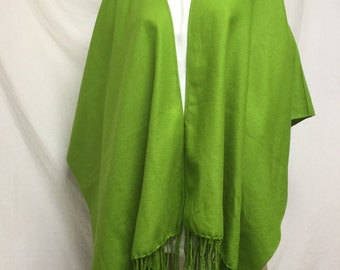 Green Apple Shawl, Fringed Wrap,Green shawl,fringed wrap