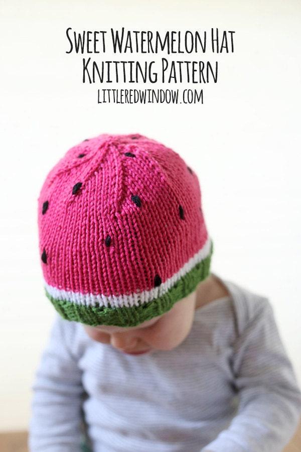 Watermelon Baby Hat KNITTING PATTERN knit hat by ...