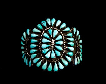 70g Old Pawn Vintage Navajo Sterling Silver Squash Blossom Cuff Bracelet w Bright Kingman Turquoise Teardrops! Fabulous Classic!