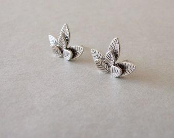 Silver Leaves Stud Earrings - stud earrings , silver stud earrings , stud leaf earrings , leaf earrings ,  woodland earrings