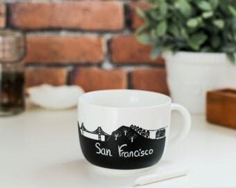 San Francisco chalk mug Alcatraz Golden gate bridge tramway architecture travel souvenir california chalkboard chalkmug cup