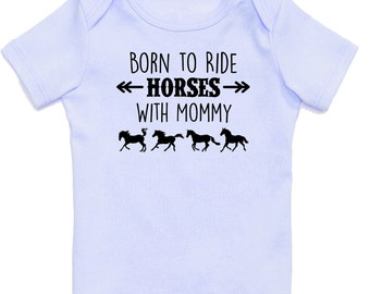 Born to Ride Horses With Mommy Baby T-Shirt, Infant Baby Shower Gift for Boys, Blue Equestrian Clothing