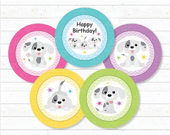 Puppy's Cupcake Toppers, Puppy's Stickers, Puppy's Birthday, Puppy Toppers, Printable, INSTANT DOWNLOAD