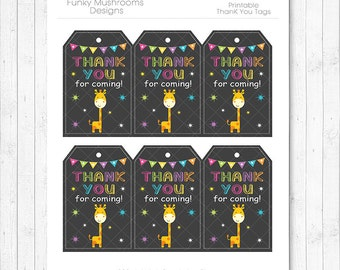 Giraffe Thank you tags, Giraffe Gift tags, Giraffe thank you notes, giraffe birthday, giraffe party, printable, INSTANT DOWNLOAD