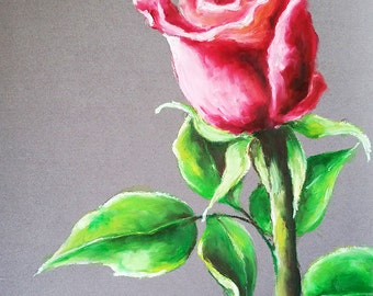 Original Pastel Drawing, Impressionist Red Rose Painting, Floral Art 9x12 Inch