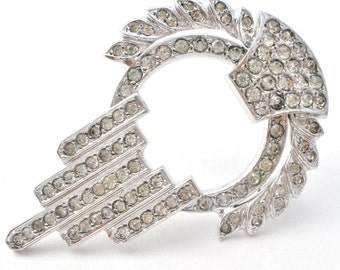 Sterling Silver, Vintage Brooch, Rhodium Plated,Clear Rhinestones, Sterling Silver Pin,Pendant Brooch,Vintage Brooches