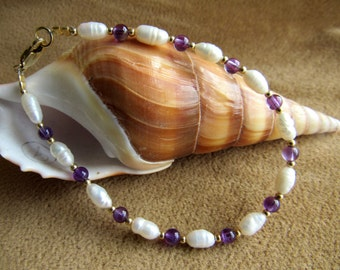 Bracelet freshwater pearl, 4mm gemstone amethyst, 12k goldfilled, sterling silver  lobster clasp and. Have 7 inch, 7 1/2 and 8 inch in stock