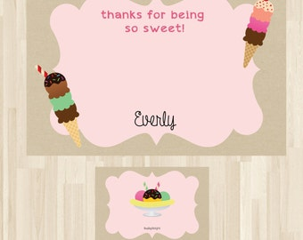 Personalized - Ice Cream Party, Ice Cream Thank You Card, Ice Cream Party Thank You, Ice Cream Theme, Ice Cream Party *NEW STORE discount*