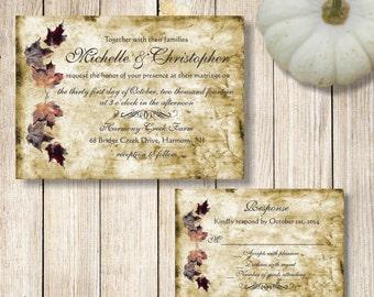 Fall Wedding Invitations, Rustic Fall Leaves Wedding Invitation, Printable Autumn Wedding Invite, Vintage Fall Leaves Wedding Invitation