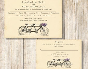 Tandem Bicycle Wedding Invitation, Printable Tandem Bicycle Wedding Invite and RSVP, Vintage Bicycle Invitation, Bicycle Wedding Invite