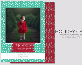Holiday Card Template - 5x7 - Front and Back - Family - Christmas - Peace - Photography Marketing - Flat Card - Mpix - Xmas Card