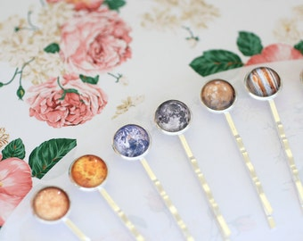 Solar System Hairpins, Planet Hairpins, Planet Bobby Pin, Space Bobby Pin, Moon Hairpin, Jupiter Hairpin, Earth,  Galaxy Hairpins, Space