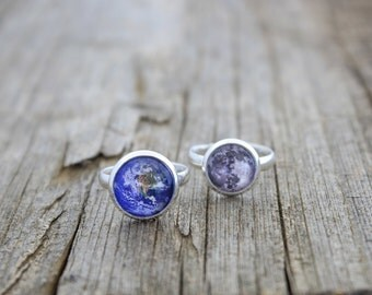 Earth and Moon, Earth, Moon, Earth Ring, Moon Ring, Moon and Earth Rings, Full Moon Ring, Solar System Ring, Space Ring, Planet Ring