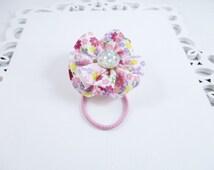 Girls Hair Tie, Flower Hair Tie, Pink Flower Hair Tie, Rhinestone Ponytail Holder, Pink Toddler Hair Tie, Ribbon Hair Tie, Flower Ponytail