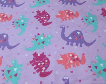 Dinosaur flannel etsy for Purple dinosaur fabric