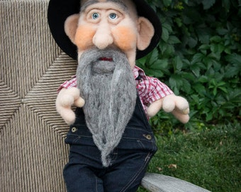 """Needle Felted Sculpture Doll ~ """"Grand Pappy"""""""