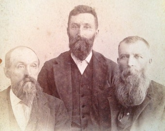Antique cabinet card photo Victorian portrait 3 bearded men Barre VT 1870s from MilkweedVintageHome