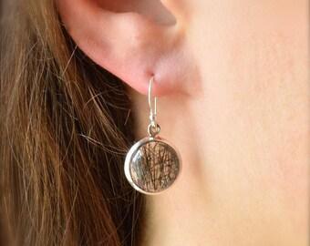 Circular Tourmalated Quartz Earrings