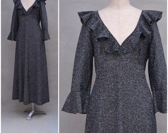 """Vintage evening / party dress, 1970s black / metallic silver empireline, maxi dress, plunging neckline with frill collar, Disco, Bust 36"""""""