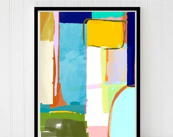 Abstract INSTANT DOWNLOAD digital art, geometric pattern, blue, green, yellow printable art