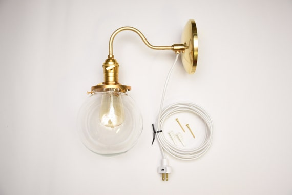Vanity Light With Plug In Cord : Gold Brass Wall Sconce Clear 6 Globe Vanity by IlluminateVintage