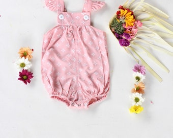Baby Girl Romper, Baby Pink Romper with little white flowers Baby Romper: Hand made ready to ship last one! Sale