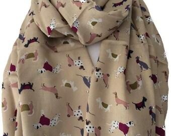 Beige Dog Print Scarf, Taupe Scarf with Dachshund Dalmatian corgi Westie Pug and Scottie Dogs