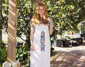 Floral Multicolored San Antonino Mexican Kaftan White Dress