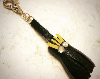 Monster Black tassel keyring/bag charm