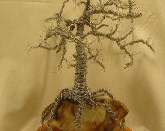 Oak Wire Tree Sculpture - Rugged Wire Tree Sculpture On Flint Rock - Natural Varnish Wood Base - Bonsai Tree Sculpture - Wire Art Sculpture.