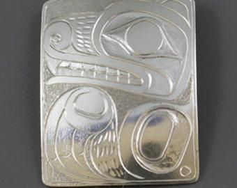 1 Bear Sterling Silver Pendant ,Northwest Coast Native art Style